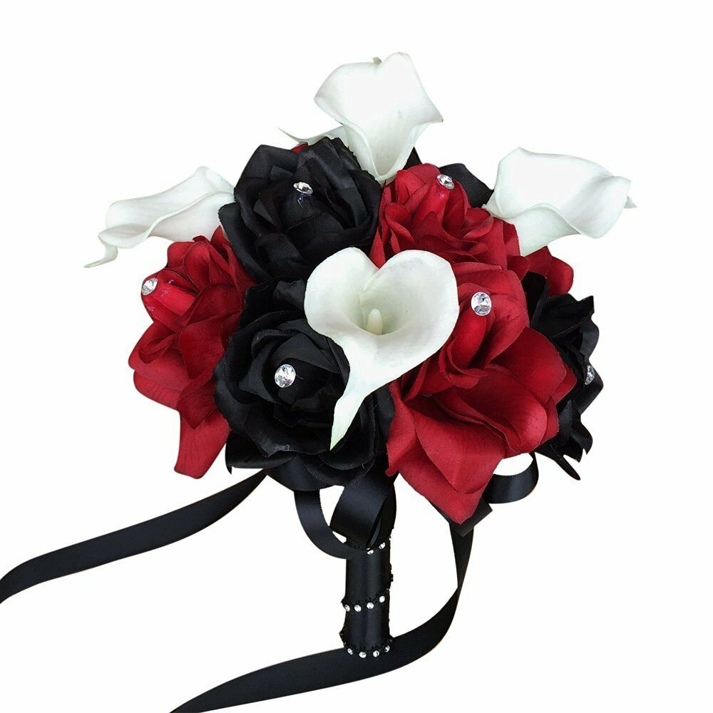 """Black Wedding Flowers: 8""""Apple Red & Black Rose,Real Touch Calla Lily Wedding"""