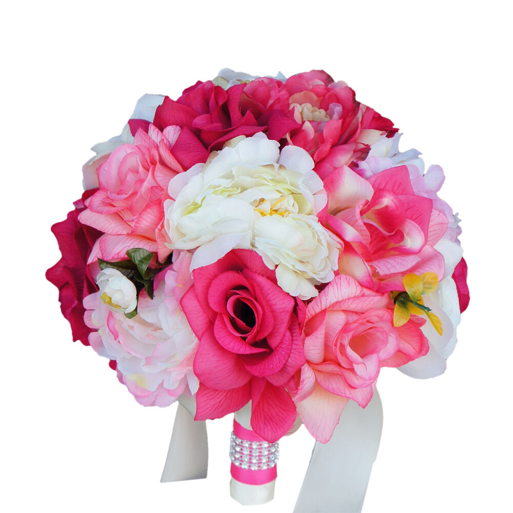red roses wedding bouquet 9 quot bouquet shades of pink ivory peony quality 7010