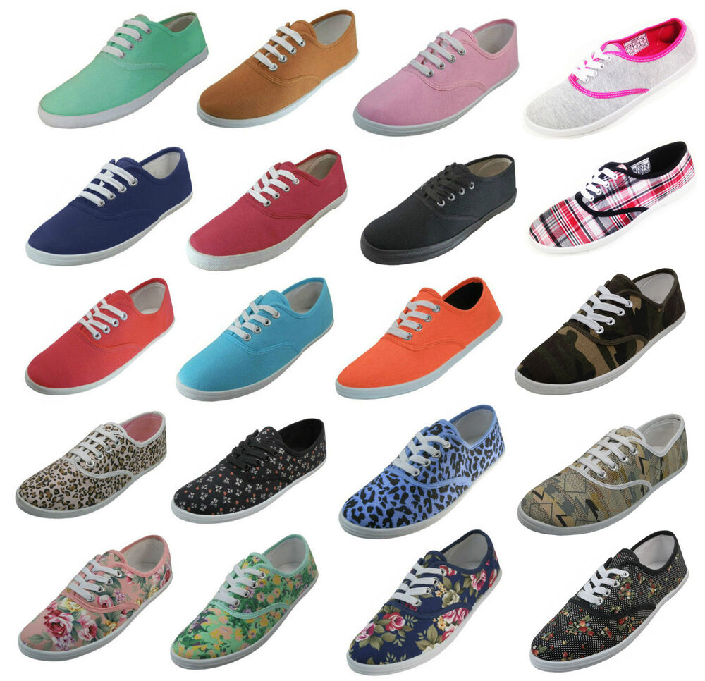 womens classic plimsoll sneaker lace up fashion canvas