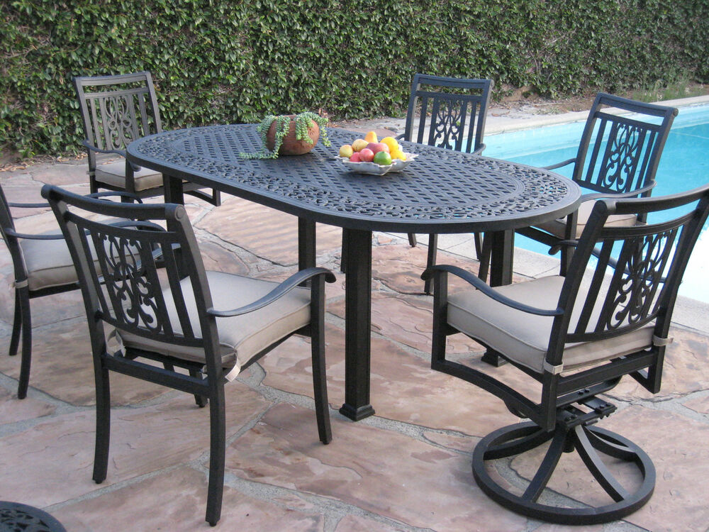New 7 piece outdoor patio furniture aluminum dining set ao for Outdoor furniture 7 piece