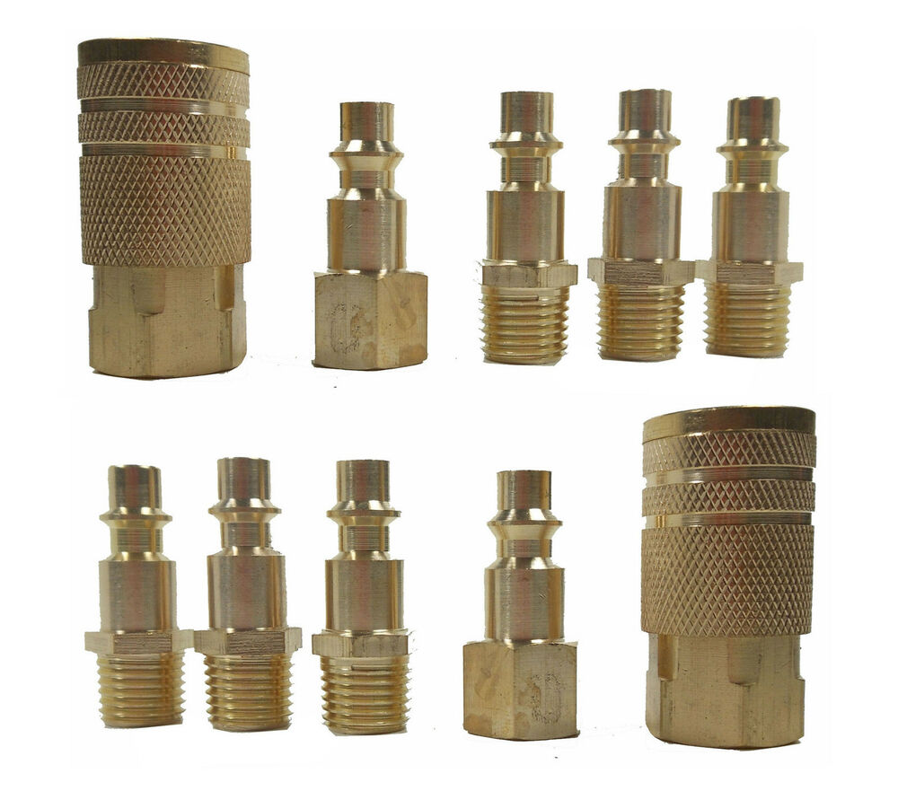 10 Pc 1 4 Quot Npt Brass Air Tool Couplers W Adapter Quick
