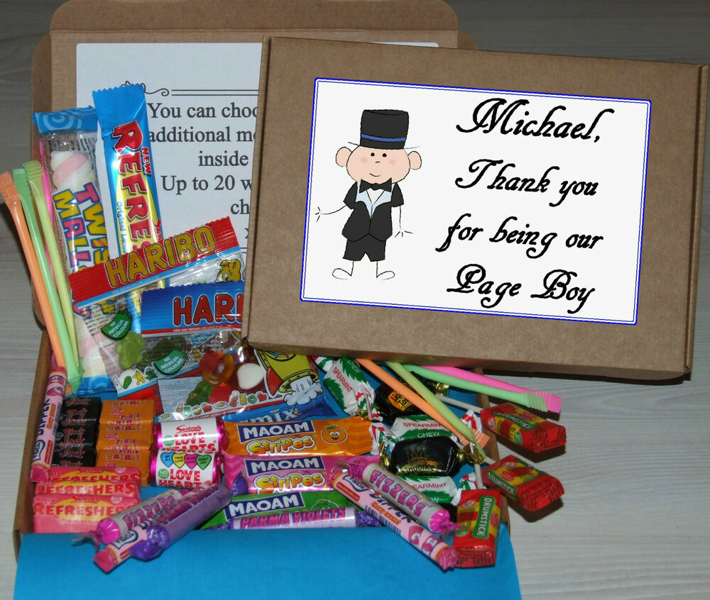 Wedding Gift Ideas For Pageboy : Personalised Pageboy or Usher Wedding Favour Sweet Gift Box Page Boy ...