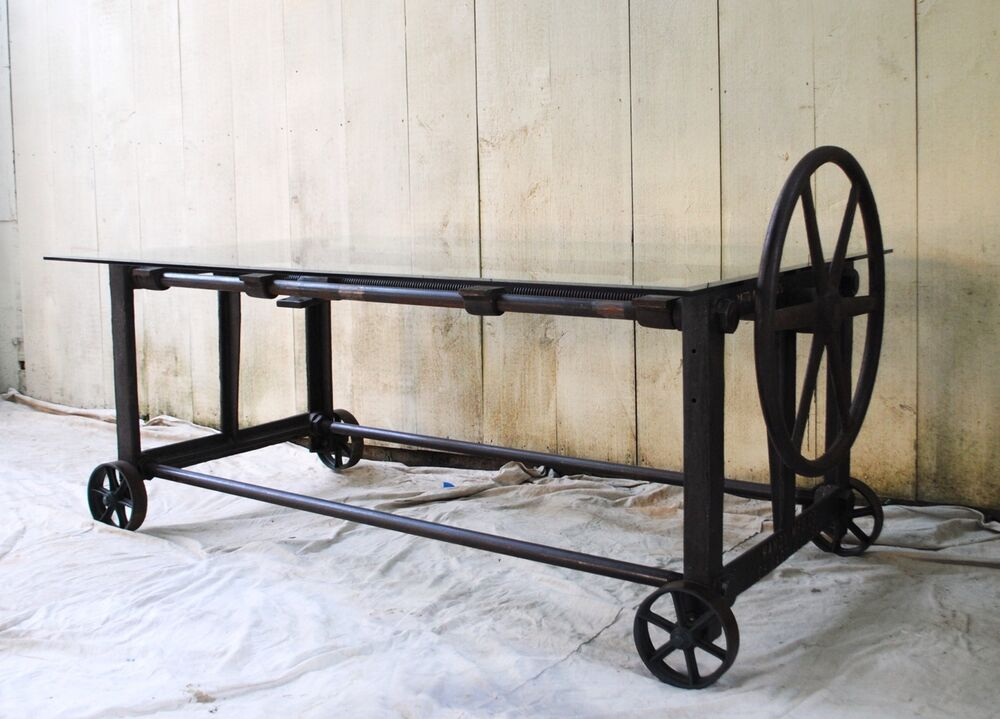 stunning vintage antique industrial cast iron table machine age ebay. Black Bedroom Furniture Sets. Home Design Ideas