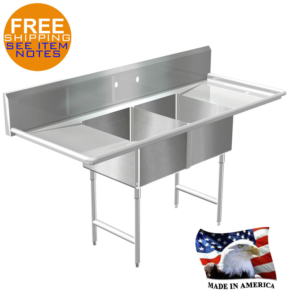 Pot Sink 2 Compartment Stainless S Nsf Approved Heavy