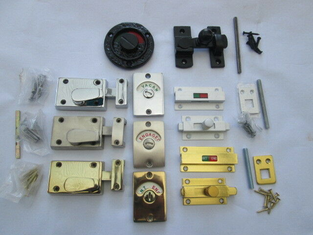 In 6 Finishes Wc Vacant Engaged Toilet Bathroom Door Lock Latch Indicator Bolt Ebay