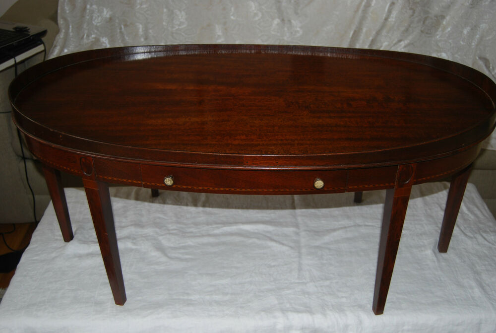 vintage mahogany mersman tables co oval coffee table