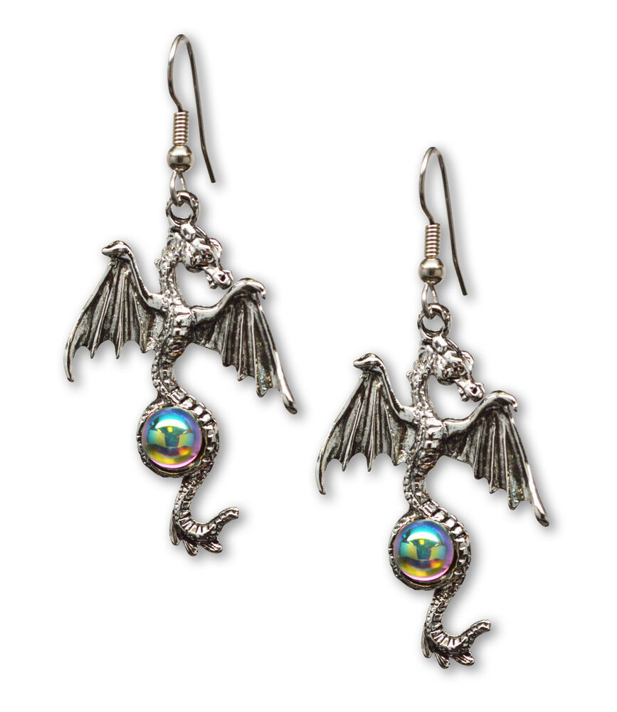 Mystical Gothic Dragon Pewter Earrings Medieval ...