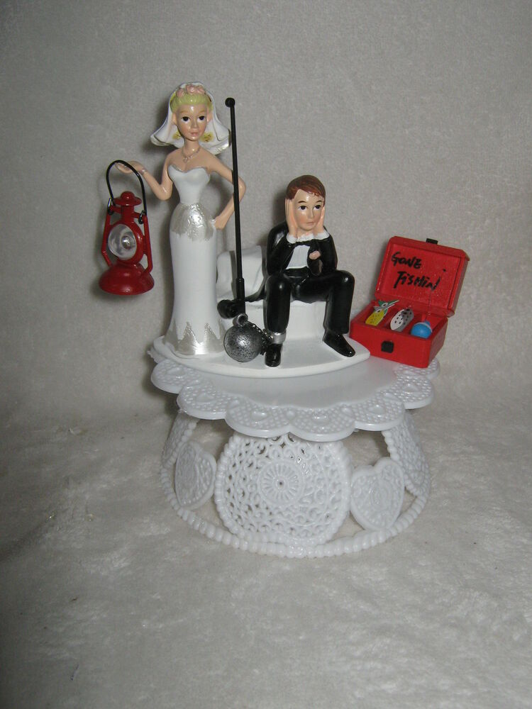 Wedding Party Reception Fishing Fisherman Cake Topper Ball Chain Tack