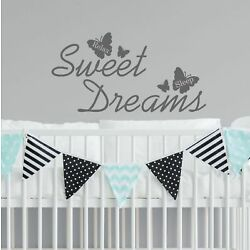 Sweet Dreams Wall Sticker Quote With Butterflies Decal Vinyl Bedroom   WQA25