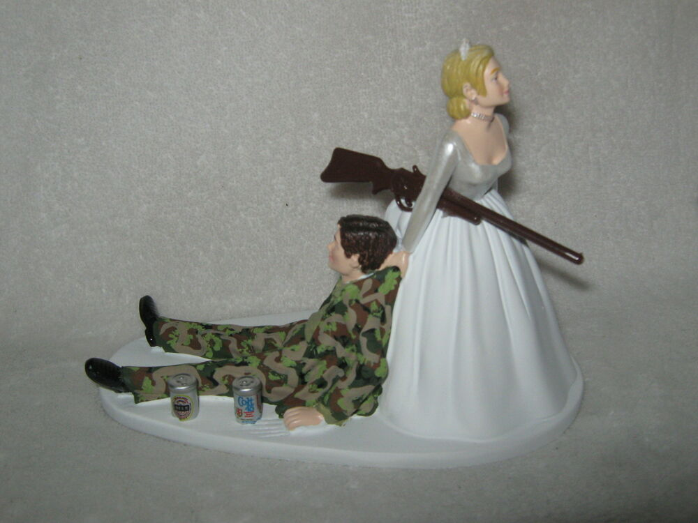Wedding Party Reception Military Drunk Camo Beer Cans Hunter Cake Topper SALE