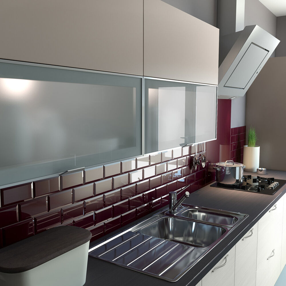 Tile On Kitchen Wall: 10x10cm Sample Of 20x10cm Metro Burgundy Gloss Bevelled