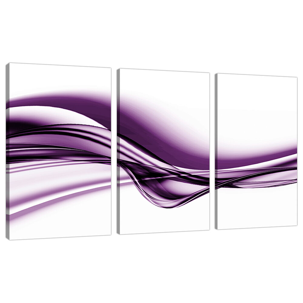 Set of 3 Large Purple Canvas Prints Pictures UK Bedroom ...