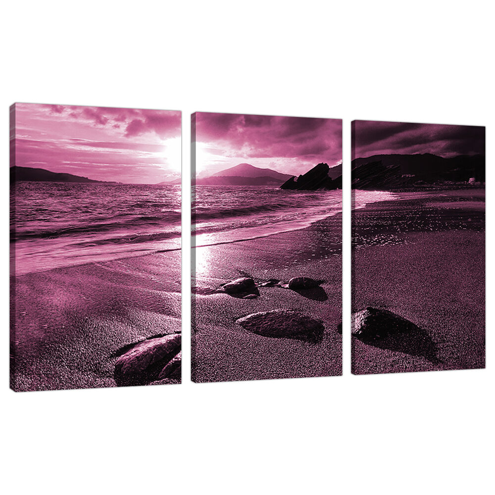 Bedroom Canvas Wall Art Uk: 3 Piece Plum Purple Large Canvas Art Pictures Wall Prints