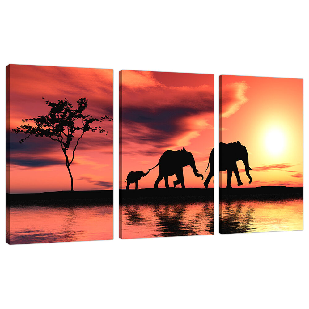 3 piece orange canvas art pictures africa elephants wall for Orange wall art