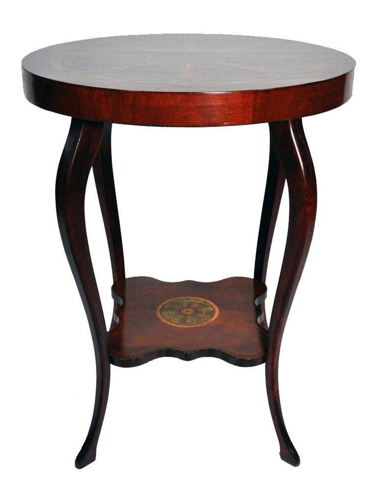 Empire art nouveau style mahogany round side table gold for Round gold side table
