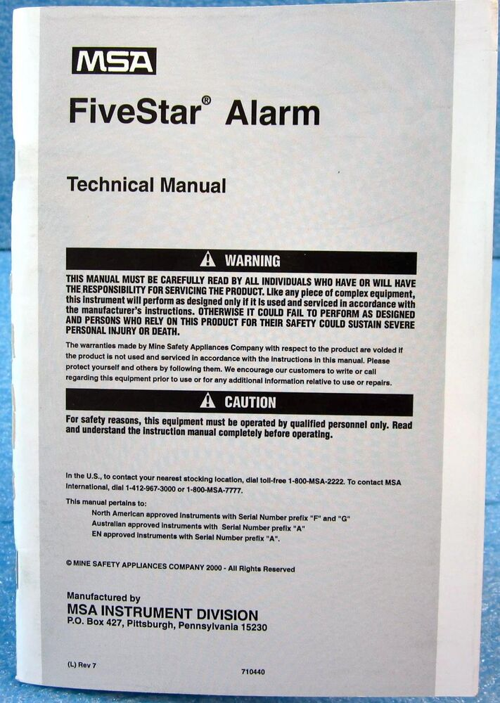 msa 710440 technical manual for fivestar alarm personal gas rh ebay com Energy Star Appliances Five Star Service
