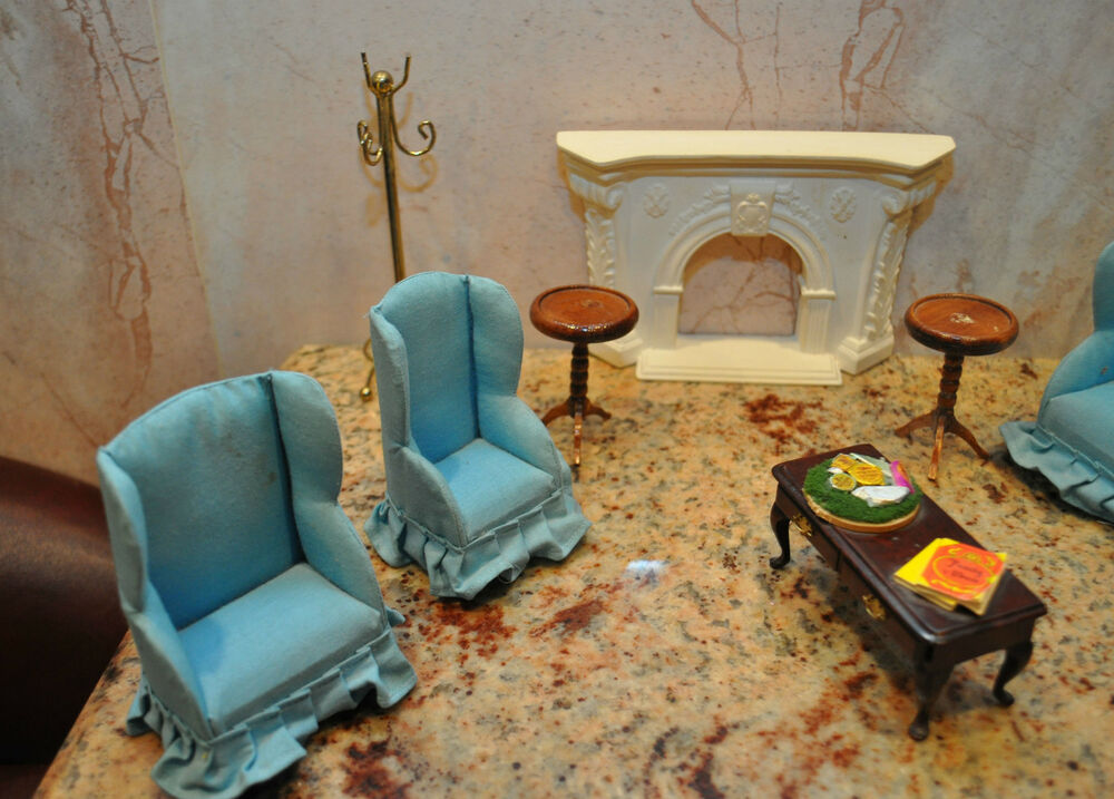Vintage Miniature Living Room Dollhouse Furniture Set With