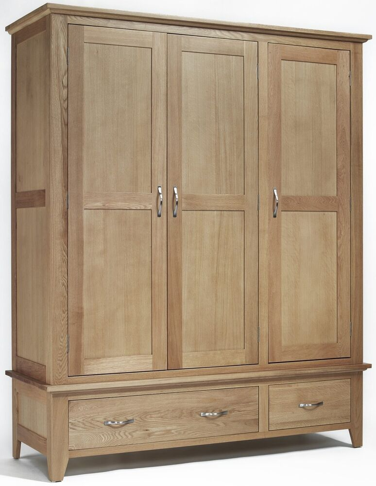 Compton Solid Oak Furniture Large Bedroom Triple Wardrobe
