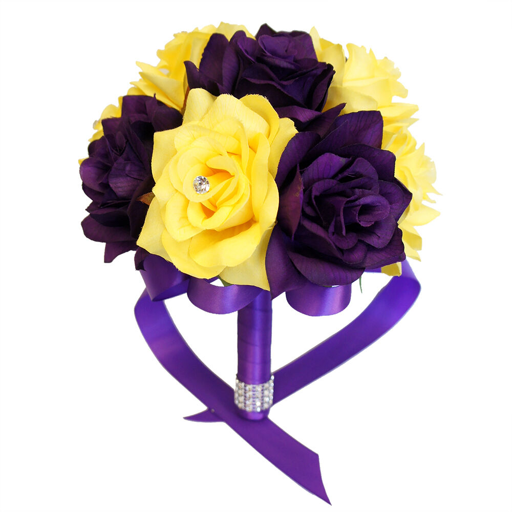 Purple And Yellow Artificial Roses