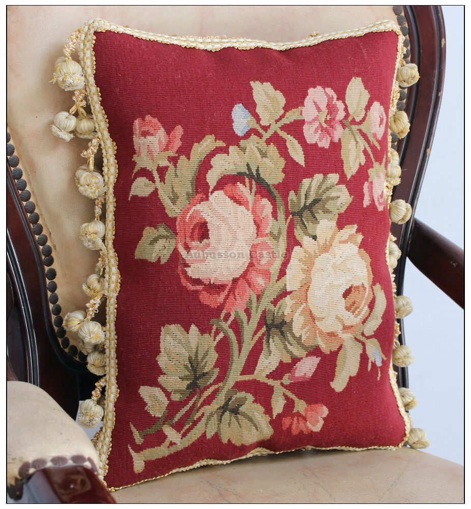 Red Chic Aubusson Pillow Cushion Yellow Pink Rose Floral