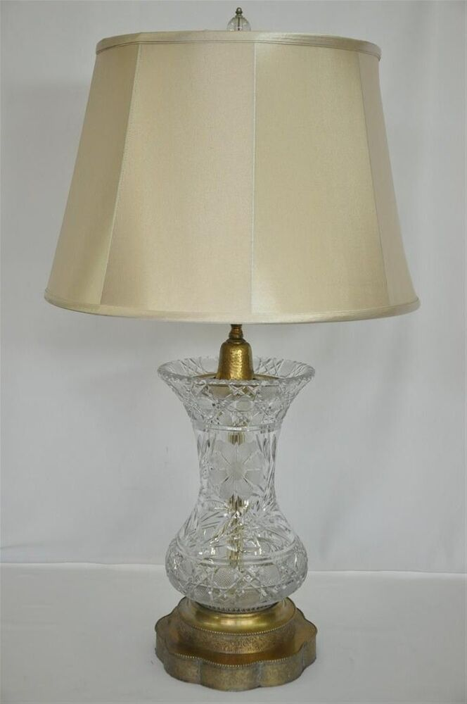 Elaborate Cut Crystal And Brass Ginger Jar Shaped Lamp