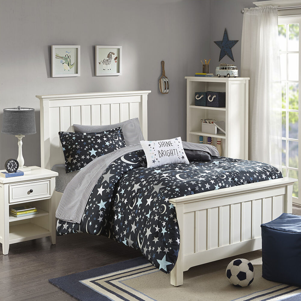 Beautiful Grey Blue Stars Space Moon Comforter Set