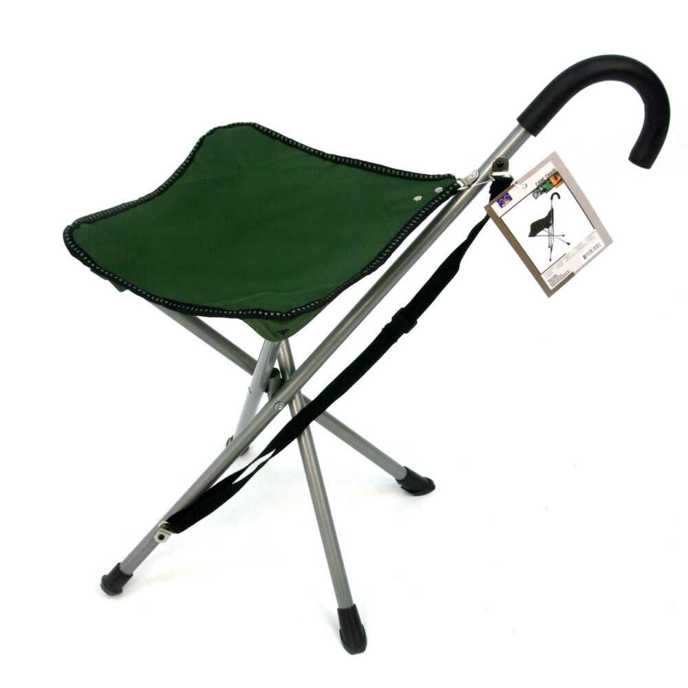 folding cane chair walking stick with attached stool take a seat anywhere ebay. Black Bedroom Furniture Sets. Home Design Ideas