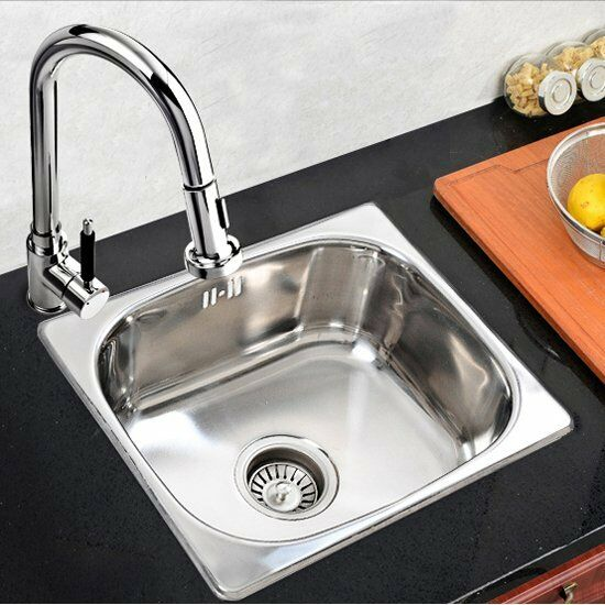 ... Steel Single One Bowl Small Kitchen Washing Sink 420mm X360mm eBay