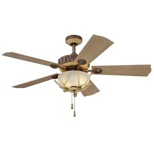 52 Yosemite Rustic Lodge Antler Ceiling Fan 2 Light