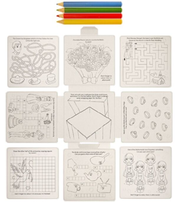 Childrens Kids Wedding Activity Puzzle Colouring Book Pack