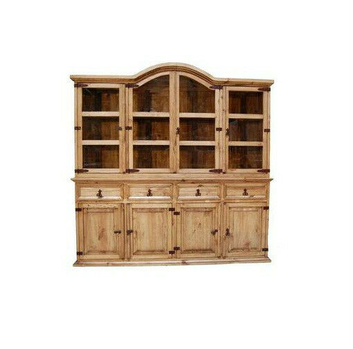 Rustic large 2 pc china cabinet western solid wood buffet for Sideboard real