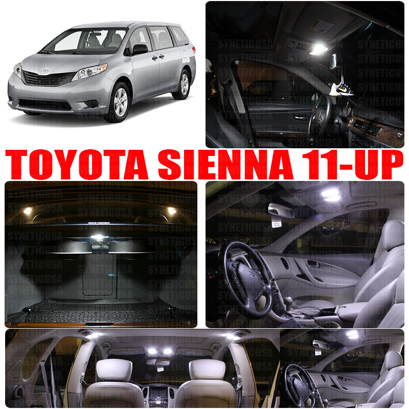 11x interior white led package for 2011 up toyota sienna. Black Bedroom Furniture Sets. Home Design Ideas