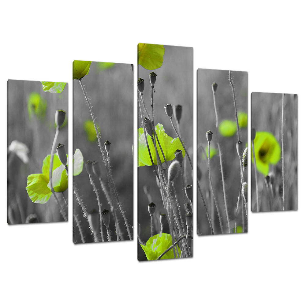 Set five cheap large lime green canvas art wall pictures for Lime green wall art
