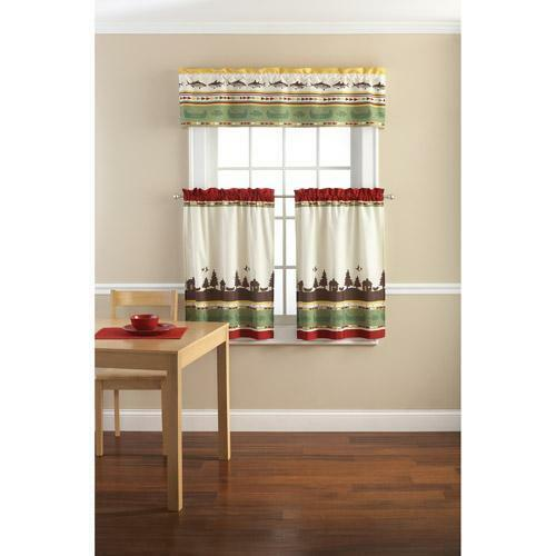 Lodge Cabin Fishing Outdoor Themed Kitchen Window Curtains
