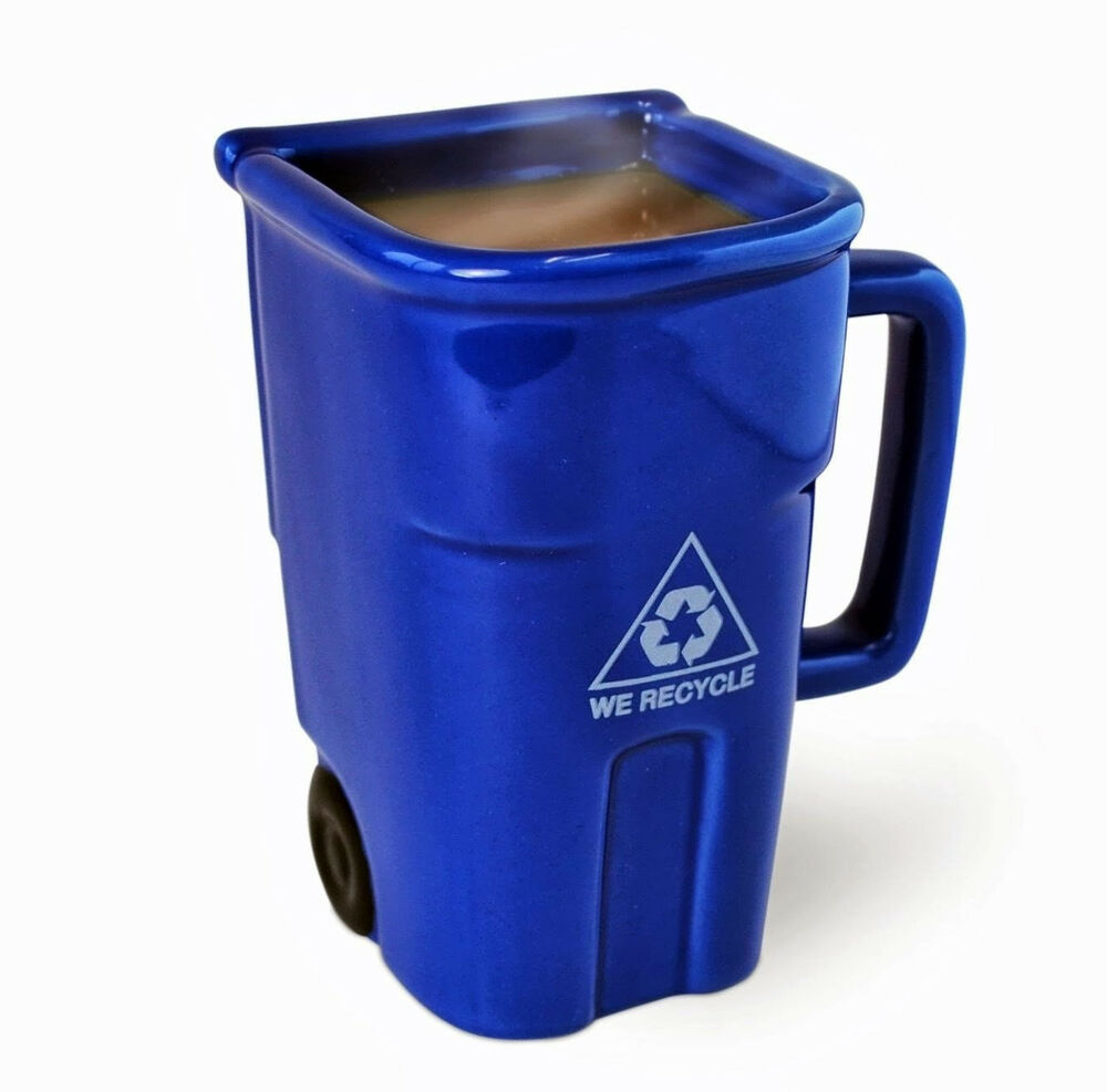 recycling bin ceramic coffee mug blue trash can green living recycle decal sign ebay. Black Bedroom Furniture Sets. Home Design Ideas
