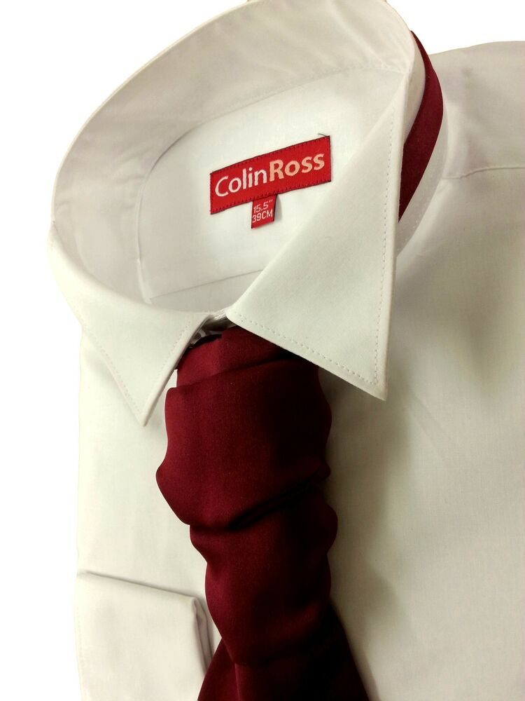 Slimmer fit white victorian wing collar dress shirt for Dress shirt collar fit