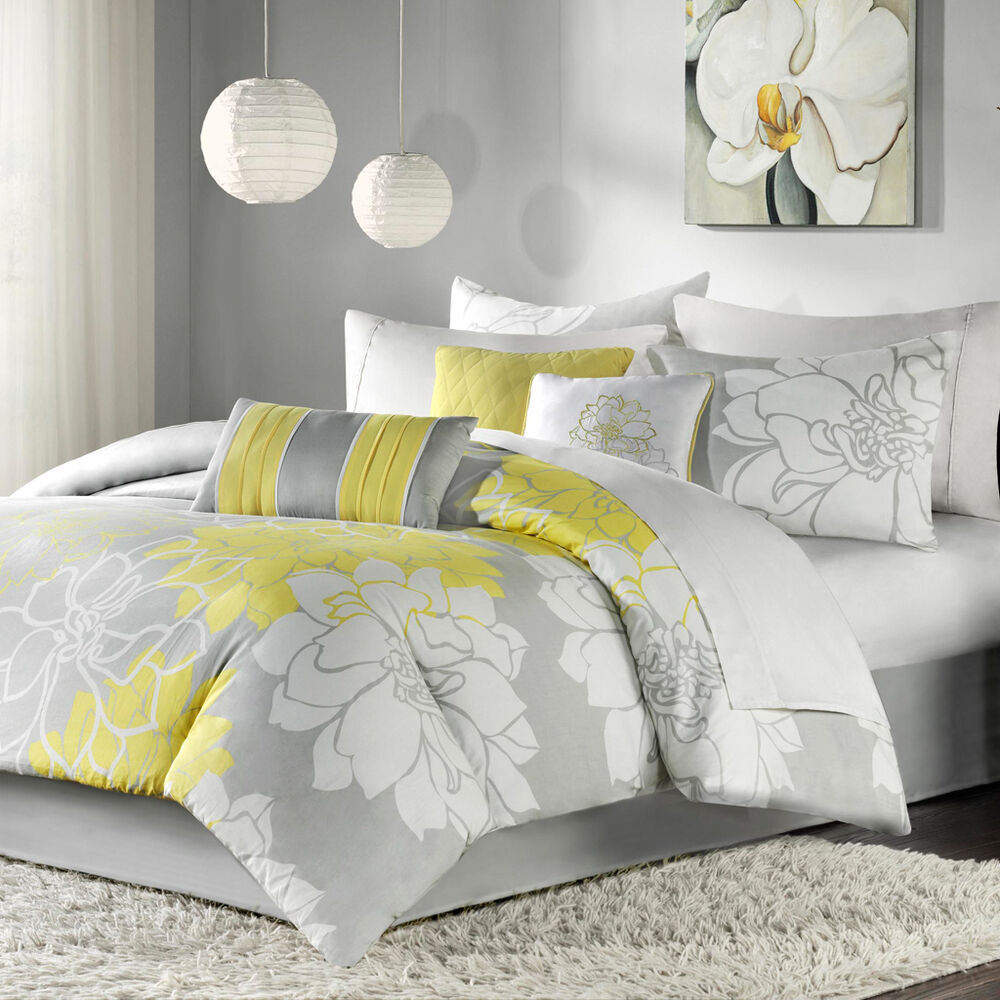 Modern Bedroom Pillows : BEAUTIFUL 7 PC MODERN ELEGANT WHITE GREY YELLOW FLORAL COMFORTER SET & PILLOWS eBay