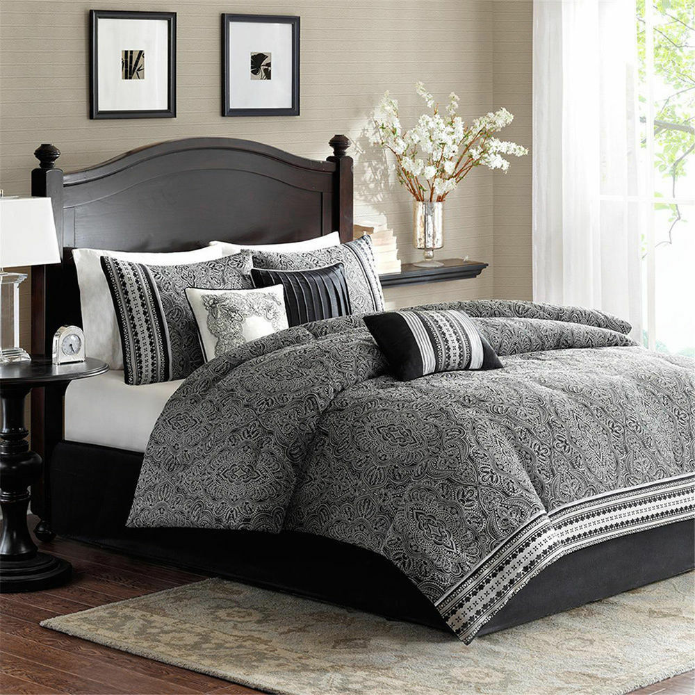 Beautiful elegant modern black white grey comforter set pillows cal king szs ebay for Beautiful bedroom comforter sets