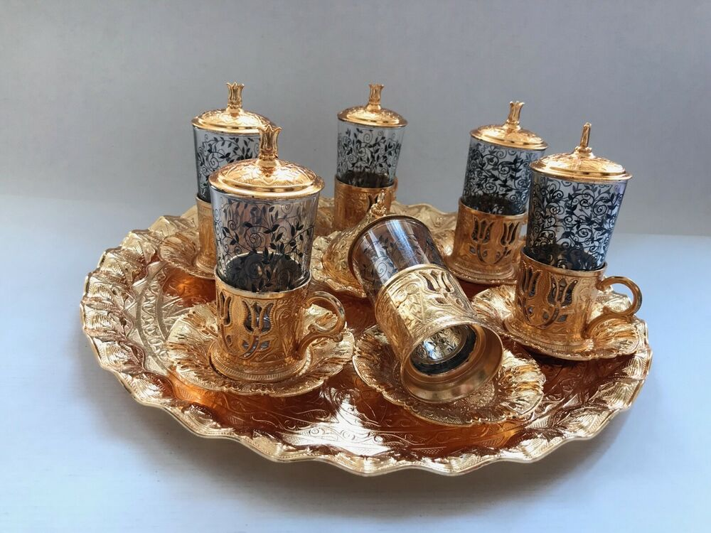 Authentic Turkish Tea Water Coffee Set 6 Cup Glass Saucer ...