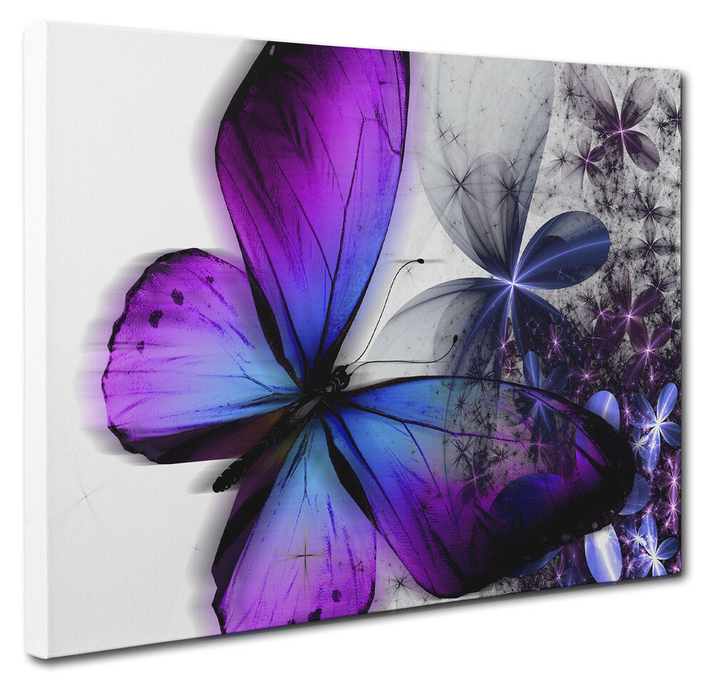 Blue And Purple Wall Art: Purple Blue Abstract Floral Butterfly Canvas Wall Art
