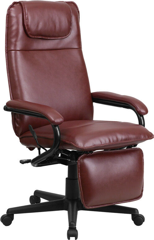 high back burgundy leather executive reclining office chair ebay