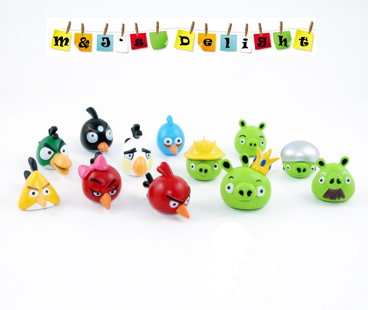 Set of 12 angry birds green pigs cartoon tv game figures collection toys 4 kid ebay - Angry birds toys ebay ...