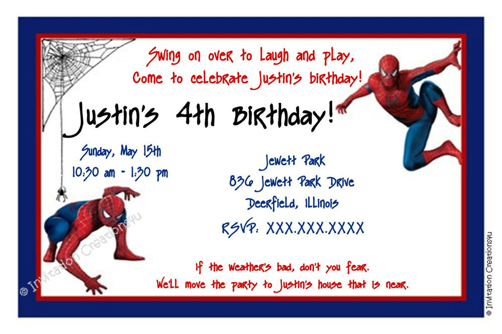 Details About Customizable Spiderman Birthday Invitation