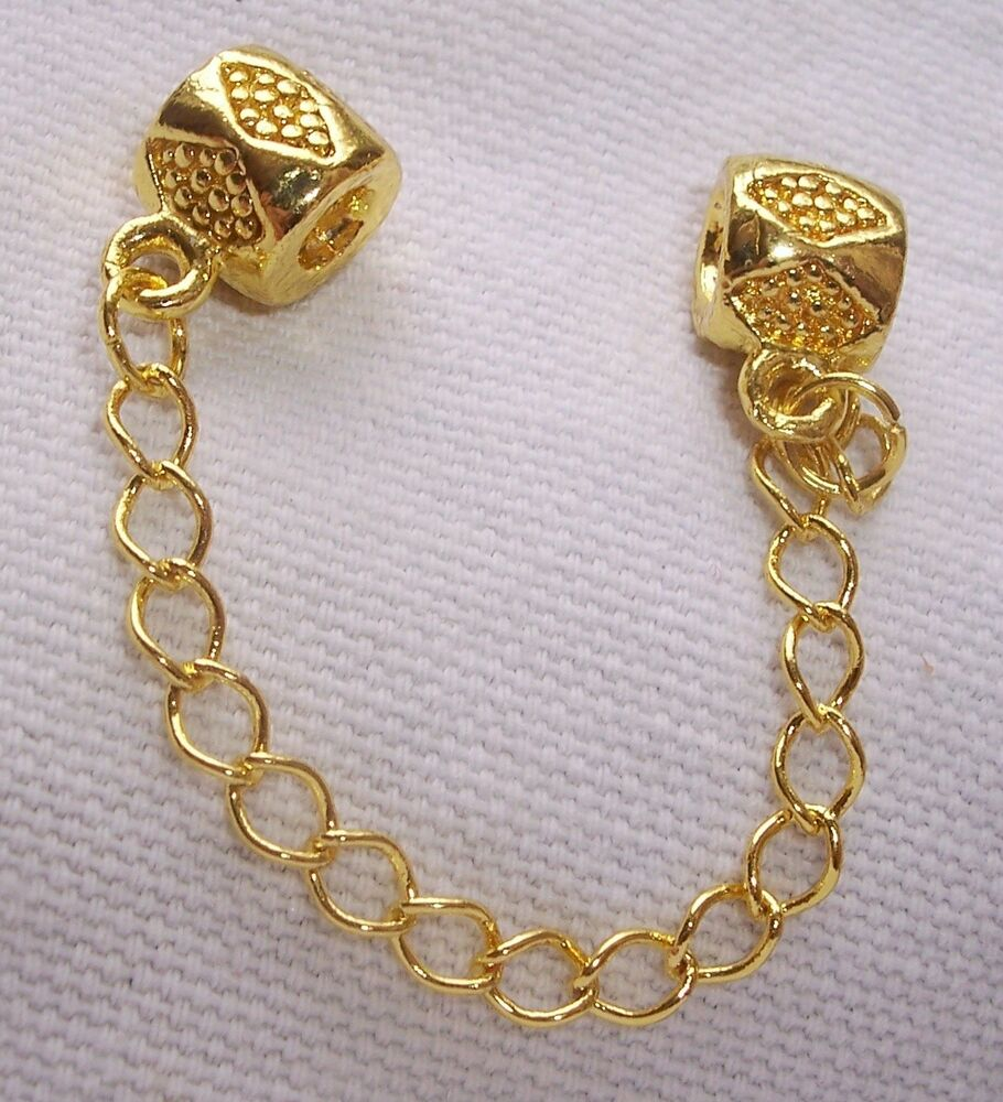 Bead Charms For Bracelets: Yellow Gold Plated Stopper Bead Safety Chain For European