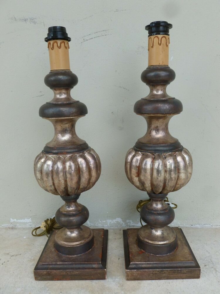 Superb Mid Century Italian Palladio Silver Leaf Hand Carved Wood Lamps Ebay