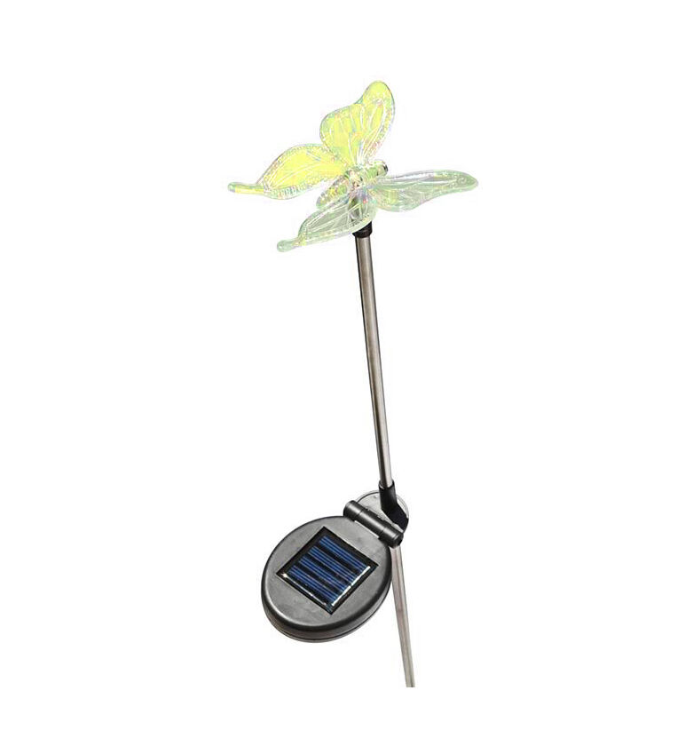 Solar powered butterfly yard garden stake color changing led light ebay for Solar garden stakes color changing