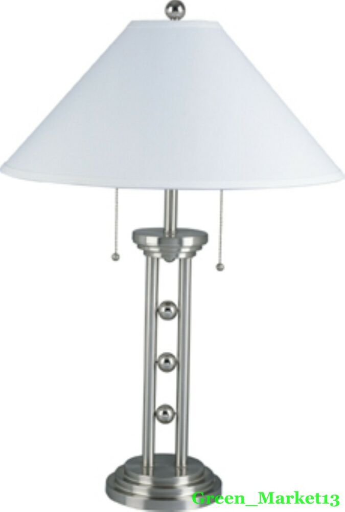 brushed metal base accent table lamp with classic pull chain ebay. Black Bedroom Furniture Sets. Home Design Ideas