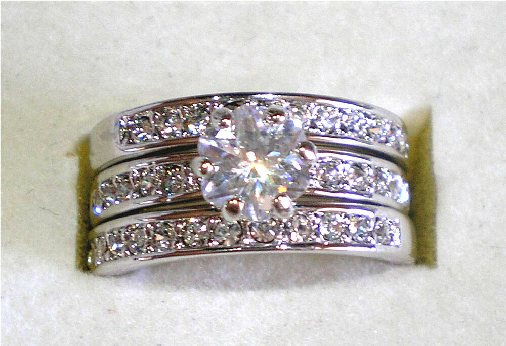 Gorgeous 18kgp simulated diamond wedding engagement ring for Ebay diamond wedding ring sets