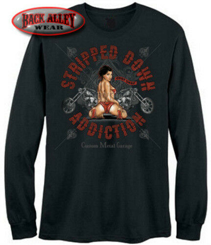 Stripped Down Addiction Motorcycles Long Sleeve Shirt