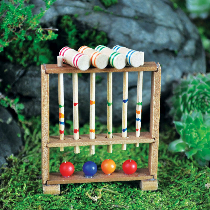 fairy garden miniatures miniature croquet set ebay. Black Bedroom Furniture Sets. Home Design Ideas